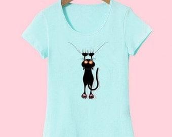 T shirt Women Summer Tops Casual Cotton 3D Cat Print 2016 New Fashion #16