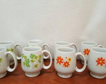 Vintage 60s - 70s TAKAHASHI Mod Groovy Flower Power Coffee Tea Cups - Set of 8