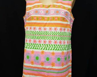Vintage 60s CEEB of Miami Groovy Colorful Flower Power Mod Dress Go Go