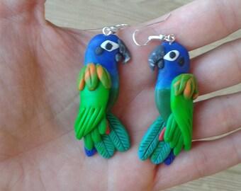 Parrot earrings Blue headed pionus -  handmade fimo earrings polymer clay