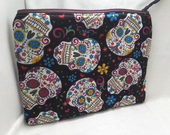 Dia de los muertos skull bag , funky purse,  floral skull clutch
