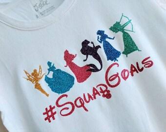 Disney Princess tshirt, #SquadGoals, glitter vinyl, girls