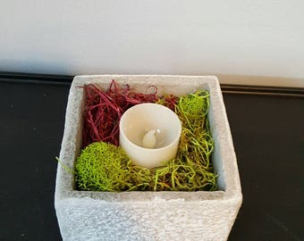 Small Garden Planter with LED Candle