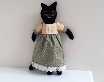 Rag Doll Cat, Black Cat, Stuffed Animal, 18 inch Cloth Doll, named Cynthia