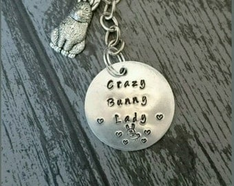 Crazy bunny lady key ring, handstamped to order