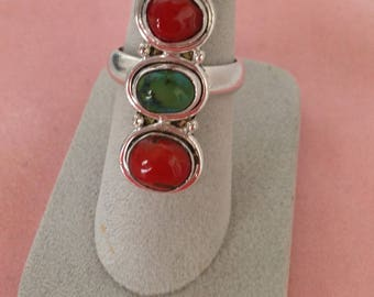 Sterling Ring, Coral & Turquoise Ring, Vintage Size 8