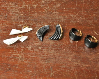 3 Pairs Trifari Vintage Clip On Earrings, Lot of 6 Clipon Gold Toned Cream + Black Enamel Jewelry Accessories