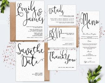 Digital Wedding Invitation Set Black and White calligraphy Modern Minimalist Simple Wedding invitation Printable contemporary wedding invite