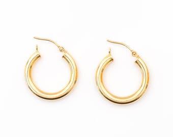 Vintage 1960s Retro 14k Gold Hoop Earrings, VJ #595A