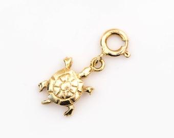 Sea Turtle 14k Gold Vintage Pendant Charm, VJ #1005