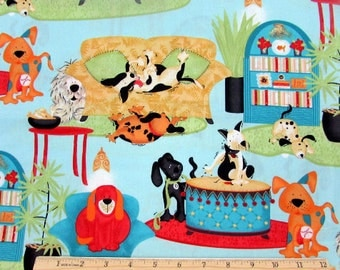 House Dogs Blue Fabric From Springs Creative