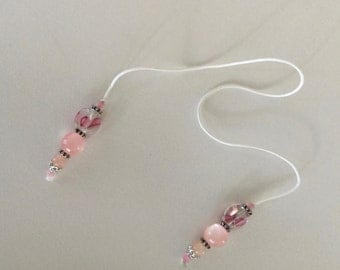 String Beaded Bookmarker Pink