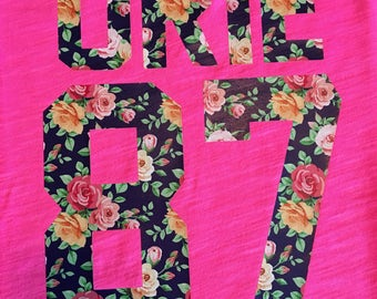 URIE 87 concert tshirt, Brendon Urie, hot pink, Panic at the Disco, floral urie 87