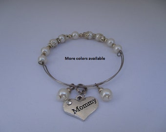 Mommy Pearl & Charm Expandable Bracelet - Mommy gift-Mommy bracelet-Mommy birthday gift-Mommy jewelry, Mommy, B610
