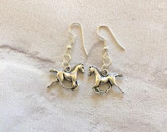 Horse Earrings, Silver Horse Earrings, Cow Girl Earrings, Horse Rider Earrings, Western Earrings, Gift for Horse Lover, Equestrian Earrings.