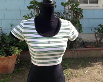 90s Vintage HighStep Green striped crop top