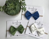 Sailor Bows in Royal Blue, Forrest Green or White on Nylon Headband or Clip