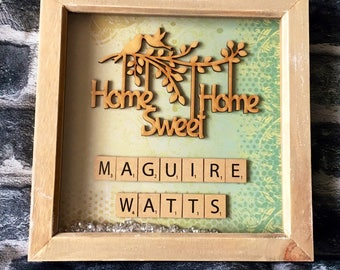 New home, new house, house warming gift, Home sweet home, personalised gift, scrabble frame, home decor, new home frame