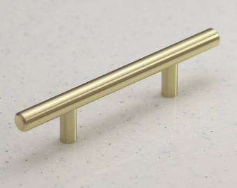 "Satin Brass Cabinet Hardware Euro Style Bar Handle Pull - 3"" Hole Centers, 5-3/4"""" Overall Length - Modern Gold"