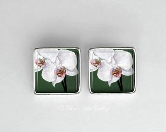 Rhodium Plated Silver Orchid Flower Art Earrings