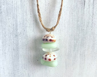 Beachy puka shell necklace with green frosted glass - handmade in Hawaii