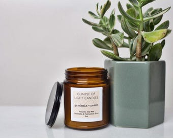 Soy Candle, Gardenia + Peach, Amber Glass, 9oz
