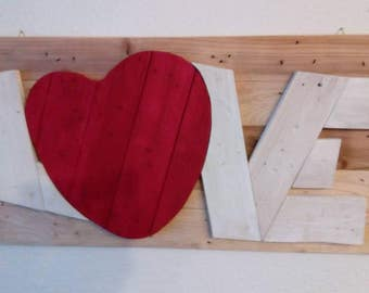 "Upcycling mural, writing ""Love"" out of pallet wood, shabby chic, vintage"