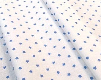 Fabric Mini stars white background with blue stars - Dimension for 1 quantity 50 cm x 160 cm - 100% cotton
