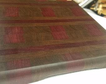 Small Walnut & Purpleheart End Grain Cutting Board