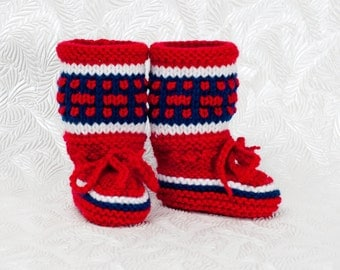 Montreal Canadiens Baby Boots-Knitted Baby Booties- Hockey Baby Boots - Baby Shower Gift - Baby Gift Idea - Warm Baby Booties