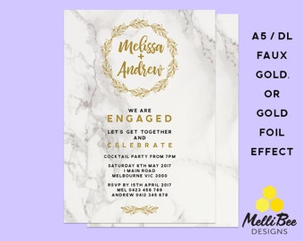 Gold Foil Effect (metallic ink) PRINTED or Faux Gold Elements,Engagement Invite, Wedding Invitation, Engagement Invitation,Marble Invites