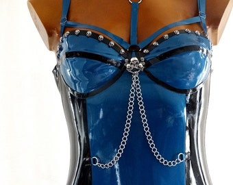 Blue-Metallic and Black latex dress