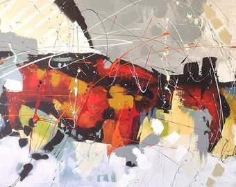 """Large abstract canvas, 30 """"x 48"""" x 1, 5 """", abstract painting, Contemporary art, modern art, Ikouart otihinal, made in Quebec, large Canvas"""