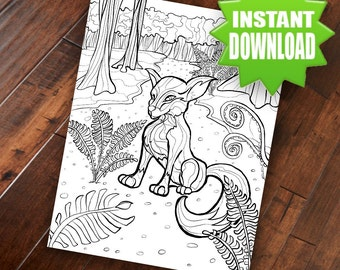 Fox Coloring Page - Adult Coloring Page Printable Digital Download Hand Drawn Original Art Wildlife Drawing by M. W. Wilson