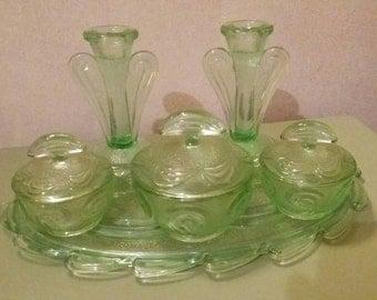 Vintage Bagley glass dressing table set