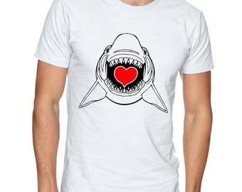 I Love You Shark On A White Short Sleeve T-shirt With A Heart On 100% Cotton Tee
