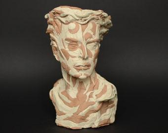 Clay plant pot sculpture. Futuristic art