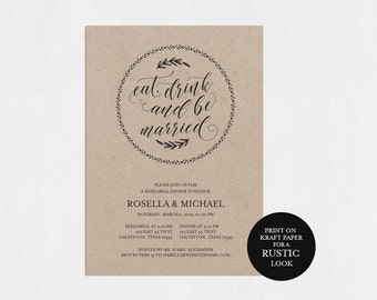 Rehearsal Dinner invitation template, rehearsal printable, modern, invitation templates, wedding rehearsal, pdf instant download, WPC_68SD3A