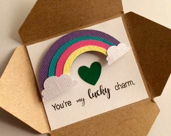 Just Because Card, Funny card, Cute card, Lucky charms, rainbow decor,  Mini Cards, Tiny Cards, Rainbow Card