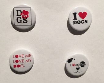 Dogs - I love Dogs - Set of 4 badges