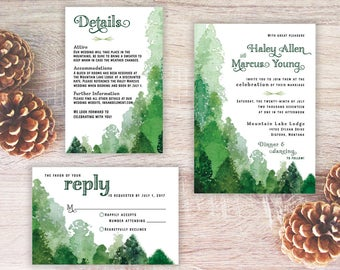 Woodsy Wedding Invitation, Green wedding, watercolor trees invitation, forest wedding, rustic wedding invitation, watercolor forest