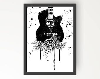 Guitar with Rose Black & White Ink illustration - Digital Print Poster - A4, A3