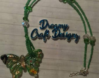 Green/Gold Butterfly Necklace