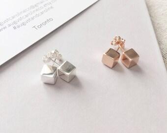Sterling Silver Stud Earrings / Cube Earrings / Rose Gold Earring Studs / Geometric Earrings / Gifts for Her / Wedding / Bridesmaid