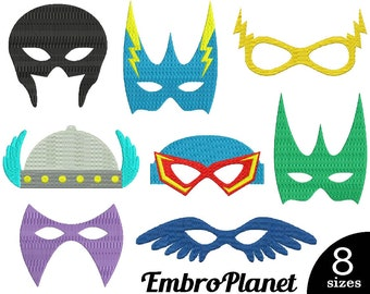 Superhero Masks V2 - Designs for Embroidery Machine Instant Download Digital File Graphic Stitch 4x4 5x7 inch hoop mask hero super face 560e