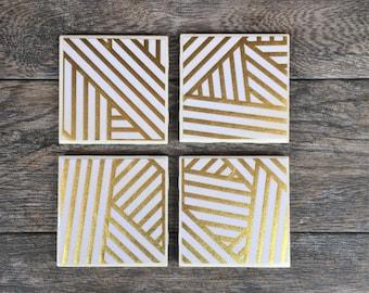 Gold and White Metallic Geometric Art Deco Coasters, Set of 4