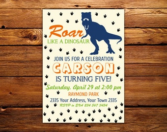 Dinosaur Birthday Invitation. Dinosaur Theme. Boys Birthday Invitation. Dinosaur Party Invitation. Dinosaur Party Invite. Any Age.