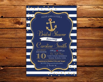 Nautical Bridal Shower Invitation. Bridal Shower Invitation. Navy and Gold Bridal Shower Invitation. Nautical Invitation. Anchor Invitation.