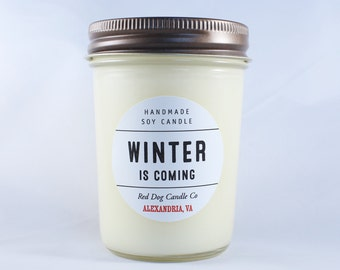 Winter Is Coming Handmade Soy Candle | Game of Thrones Candle | Holiday Candle|Christmas Candle | Soy Candle with Lid