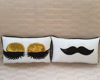 Personalized Mr & Mrs Pillow - Wedding pillow - Bride and Groom - Decorative Pillow - Lips pillow - Mustache Pillow